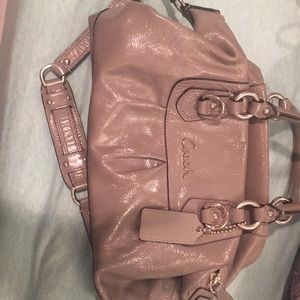Gray leather coach purse